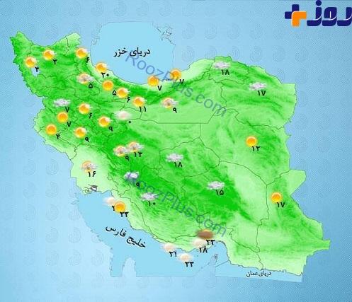 وضعیت آب و هوای مناطق مختلف کشور + نقشه