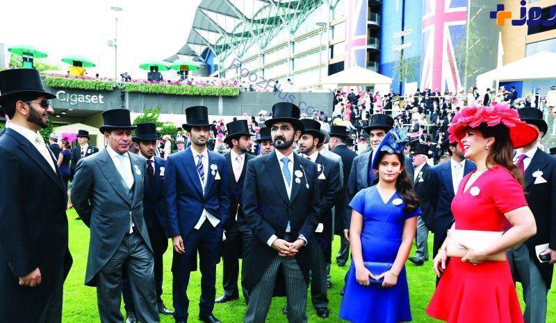 عکس/حاکم دبی در کنار همسر و دخترش در لندن