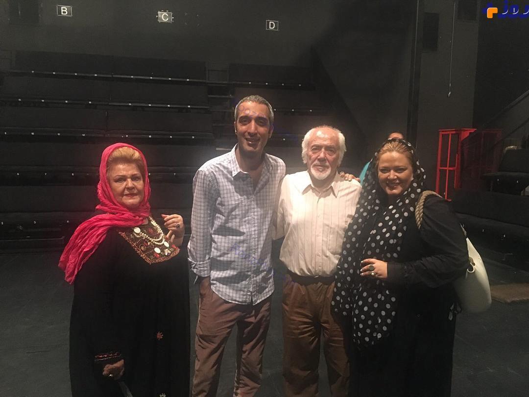 بهاره رهنما در کنار امیر مهدی ژوله و پدر و مادرش + عکس