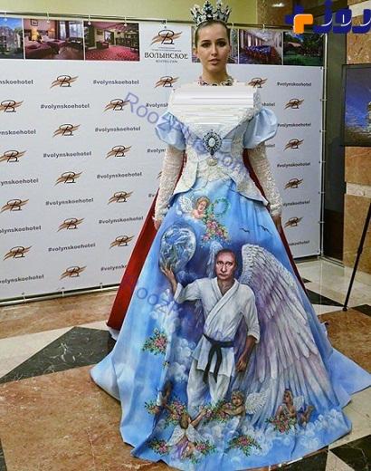 عکس پوتین روی لباس زنان روسی