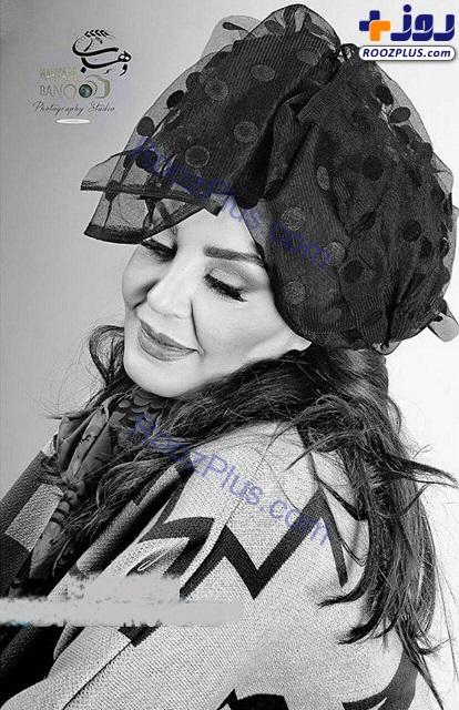 پوشش و میکاپ عجیب خانم بازیگر در عکسی آتلیه ای