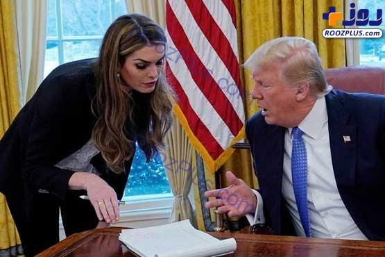 عکس/زنی که به جای همسر ترامپ با او به سوئیس رفت