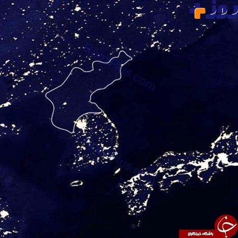 تصويري از تفاوت كره شمالي و كره جنوبي در شب