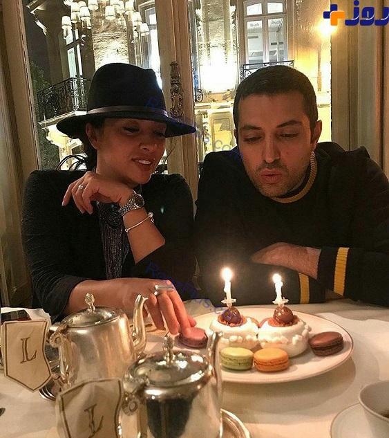 تولد آقای بازیگر در فرانسه با حجاب عجیب همسرش+عکس