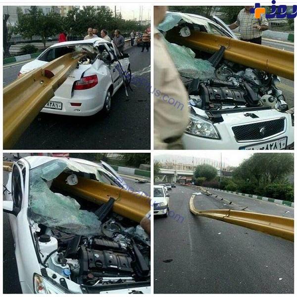 عکس/ به سیخ کشیده شدن خودروی رانا در یکی از بزرگراه های تهران!