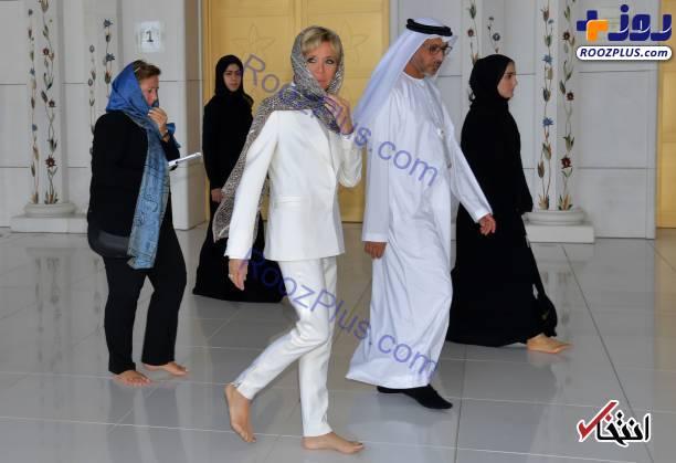تصاوير/حجاب جالب همسر رئيس جمهور فرانسه در ابوظبي امارات