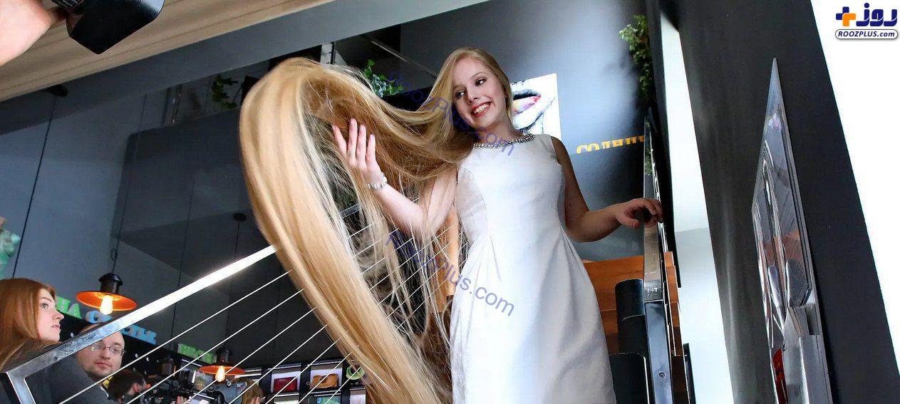 دختر نوجوان ۱۵ ساله اوکراینی صاحب عنوان بلندترین مو! +عکس
