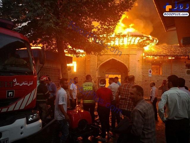 مسجد جامع ساری آتش گرفت +تصاویر