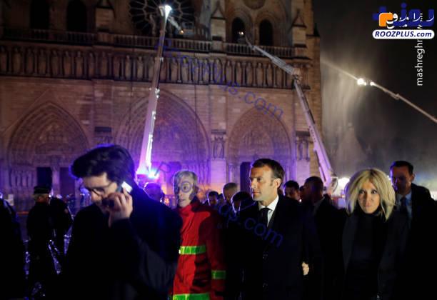 عکس/ ماکرون در محل حادثه پاریس