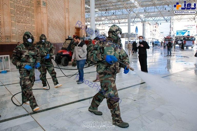 عکس/ضد عفونی مستمر صحن و سرای مطهر حضرت علی (ع)