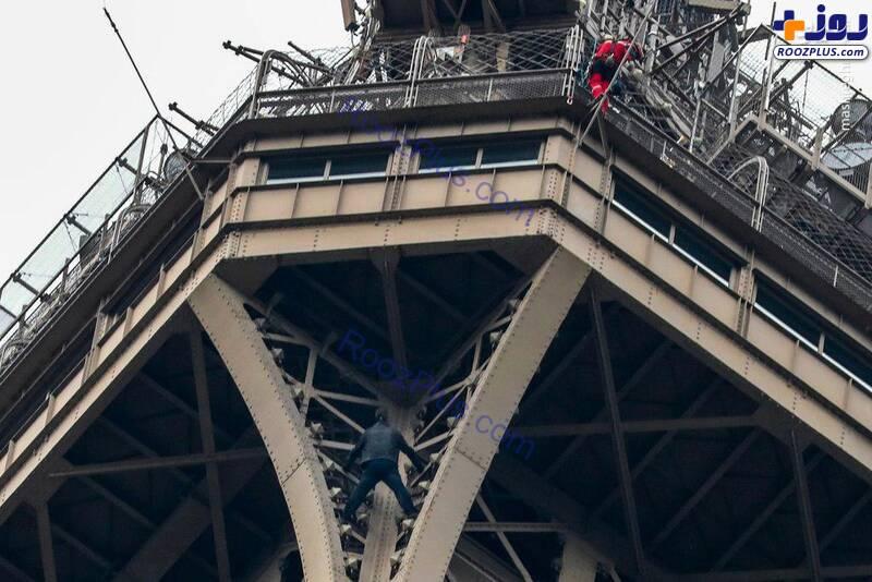 صعود غیرمجاز از برج ایفل +عکس