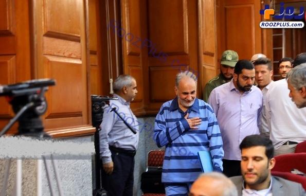 محمد علی نجفی بدون دستبند و خندان در دادگاه دوم/عکس