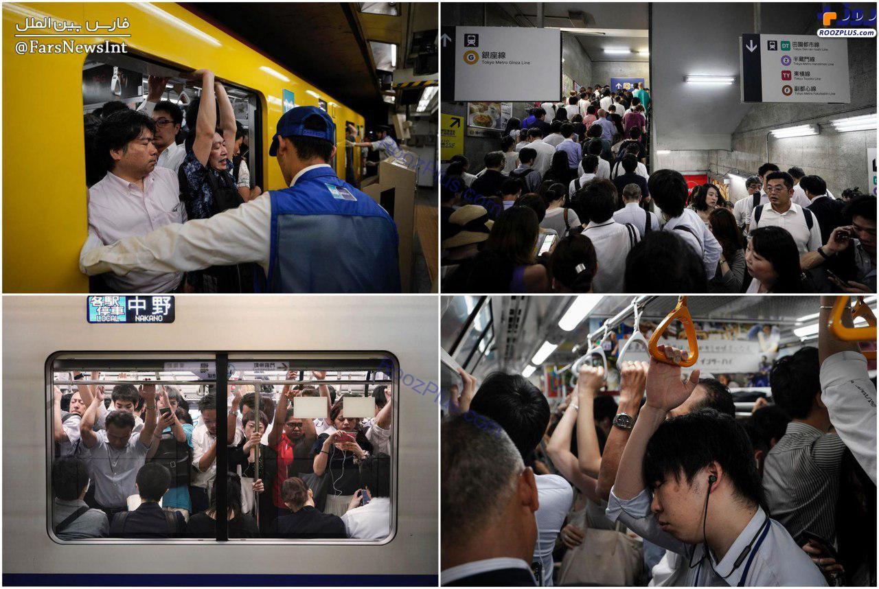 ساعات پیک مترو توکیو +عکس