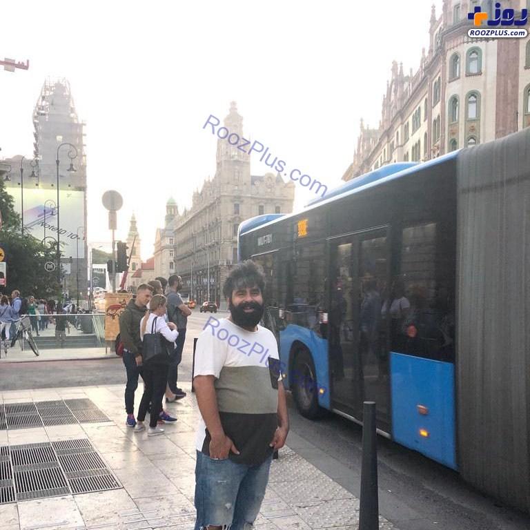 عکس/گردش امیر نوری با ریش فراوان در مجارستان