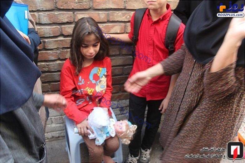 نجات کودک ۶ ساله از آتشسوزی در بزرگراه نواب