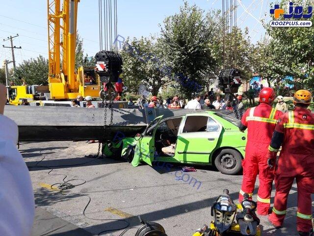 سقوط جرثقیل در اتوبان بسیج با ۲ کشته +عکس