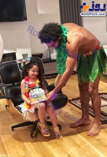 پوشش عجیب فوتبالیست معروف در جشن تولد دخترش +عکس