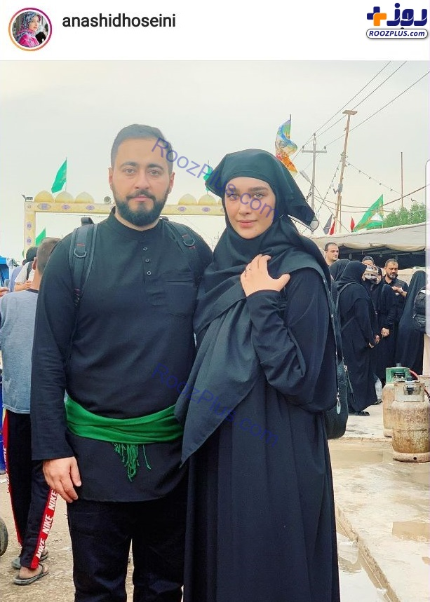 عکس/عروس سفیر و همسرش در پیادهروی اربعین