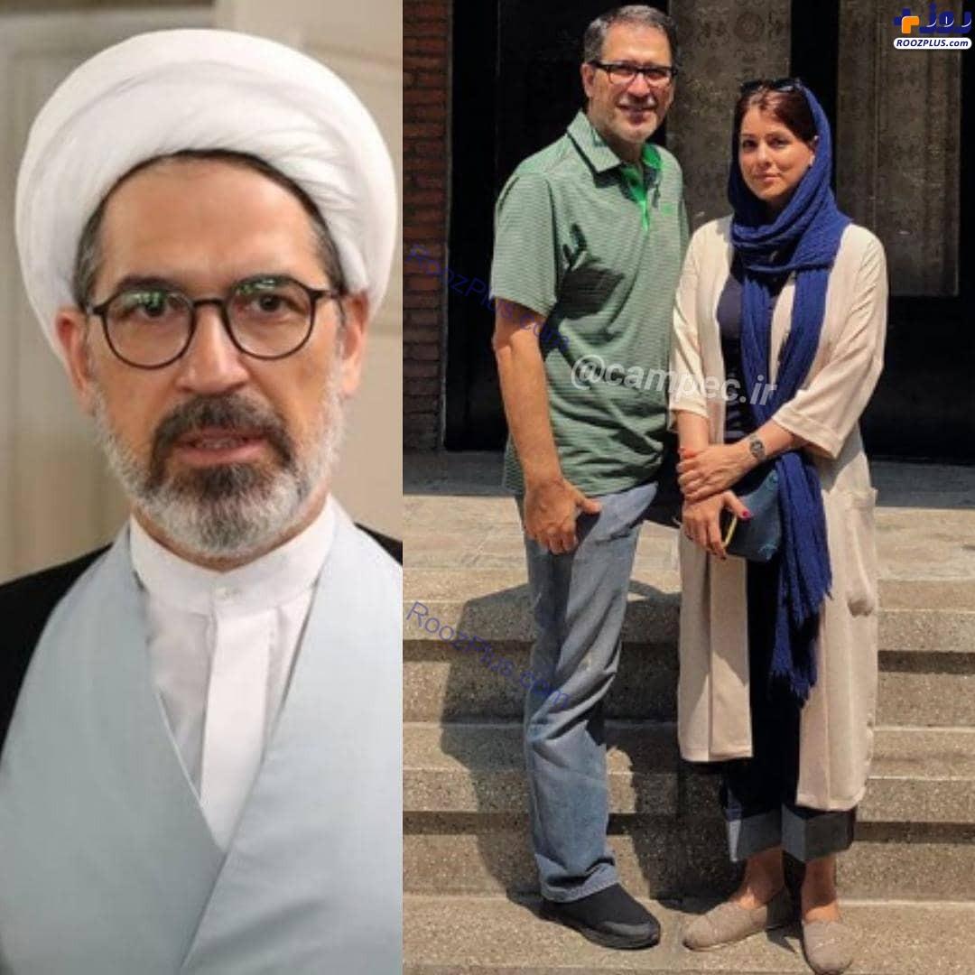 حاج آقای سریال ستایش در کنار همسر واقعیاش +عکس