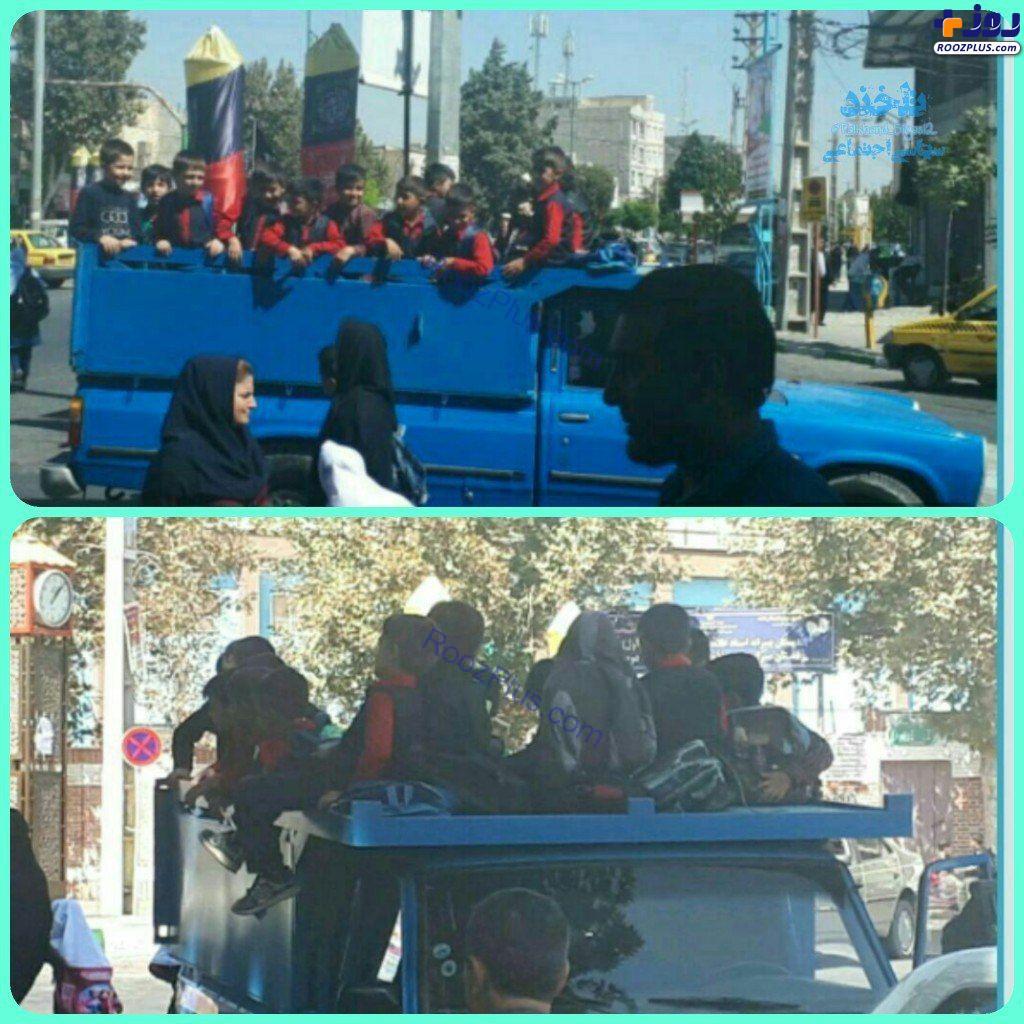 عکس/استفاده از نیسان برای سرویس مدرسه در شهریار