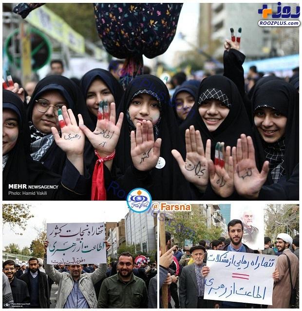عکس/اقدام مهدی ترابی در راهپیمایی ۱۳ آبان تکثیر شد