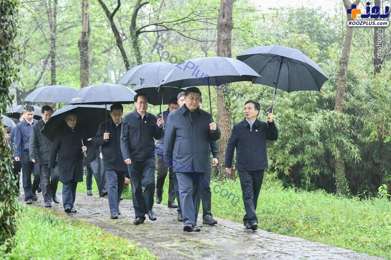 رئیس جمهور چین بدون ماسک در پارک +عکس