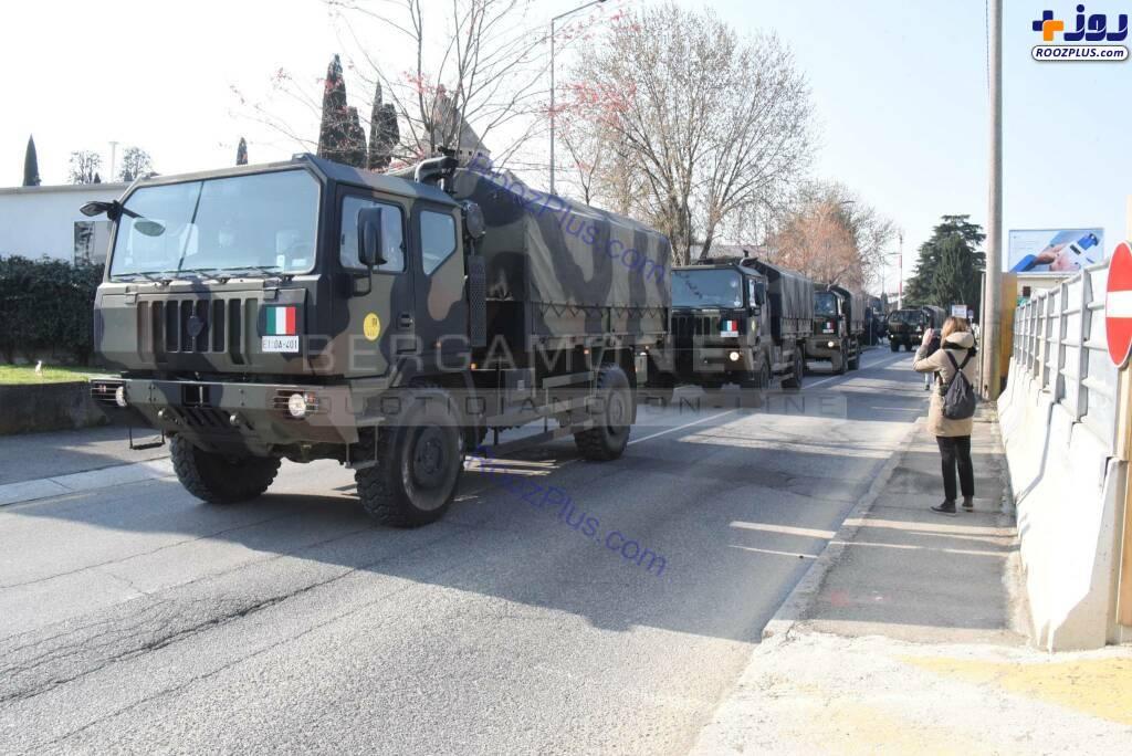 کامیونهای نظامی حامل اجساد قربانیان کرونا در ایتالیا +عکس