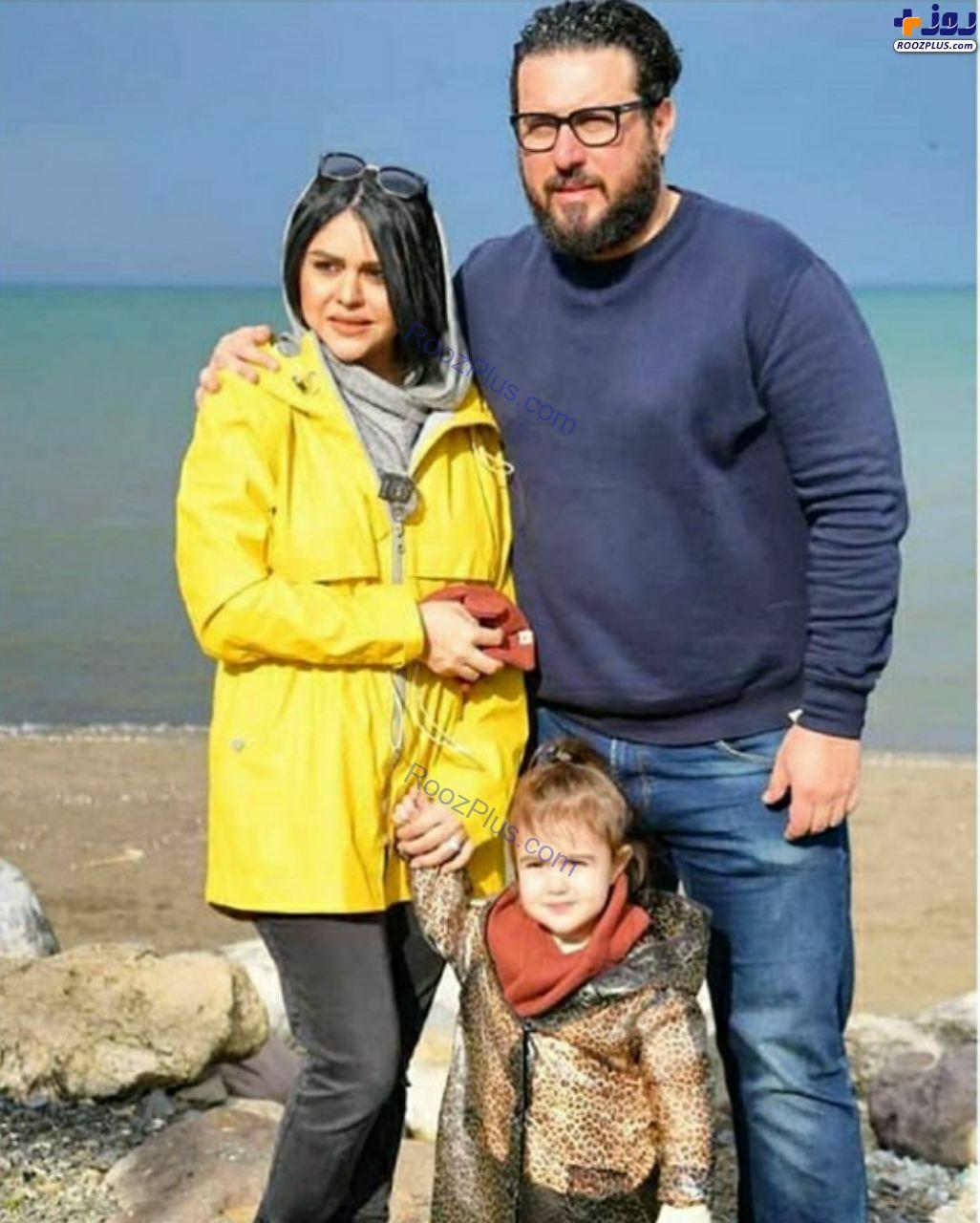 محسن کیایی و همسرش کنار دریا +عکس