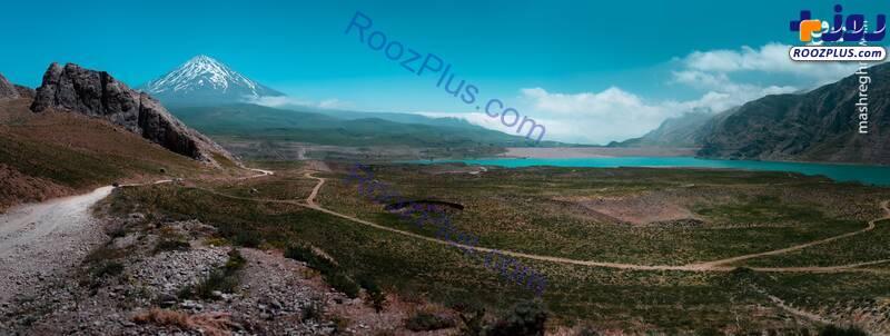 قله دماوند و سد لار در یک قاب +عکس