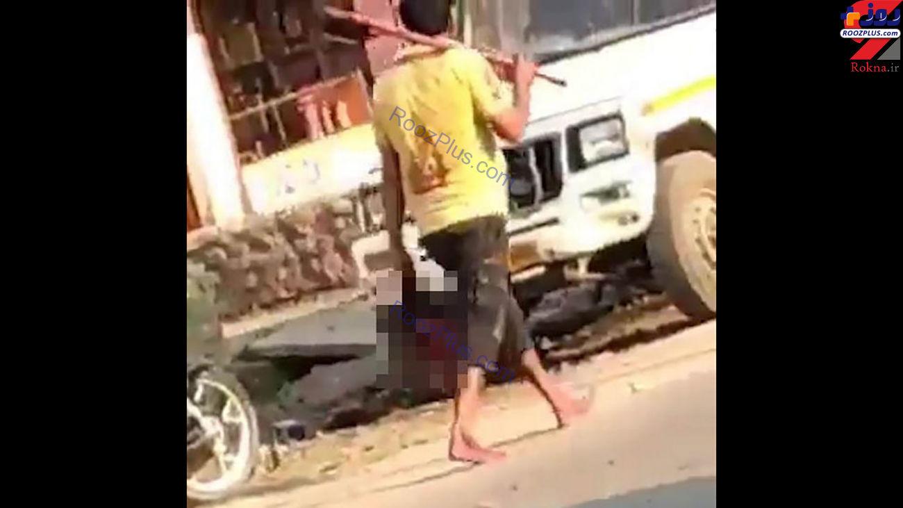 مردی که با سر بریده زنش در خیابان قدم میزد +عکس